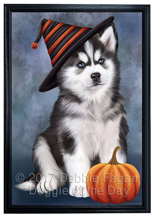 Happy Halloween Siberian Husky Dog Wearing Witch Hat with Pumpkin Framed Canvas Print Wall Art