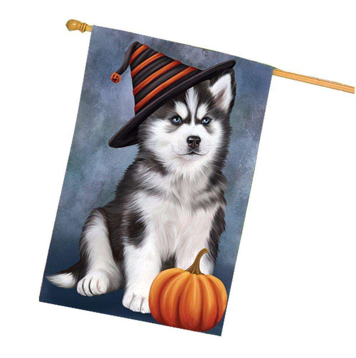Happy Halloween Siberian Husky Dog Wearing Witch Hat with Pumpkin House Flag