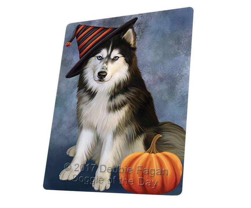 Happy Halloween Siberian Husky Dog Wearing Witch Hat with Pumpkin Large Refrigerator / Dishwasher Magnet