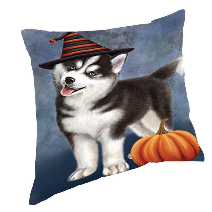 Happy Halloween Siberian Husky Dog Wearing Witch Hat with Pumpkin Throw Pillow D171