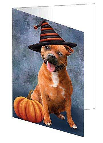 Happy Halloween Staffordshire Dog Wearing Witch Hat with Pumpkin Greeting Card D112