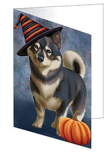Happy Halloween Swedish Vallhund Dog Wearing Witch Hat with Pumpkin Greeting Card D113