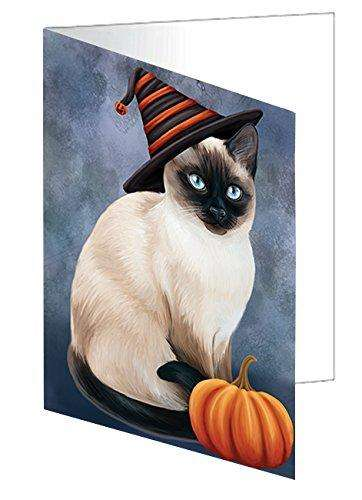 Happy Halloween Thai Siamese Cat Wearing Witch Hat with Pumpkin Greeting Card D130