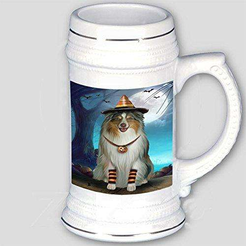Happy Halloween Trick or Treat Australian Shepherd Dog Candy Corn Beer Stein