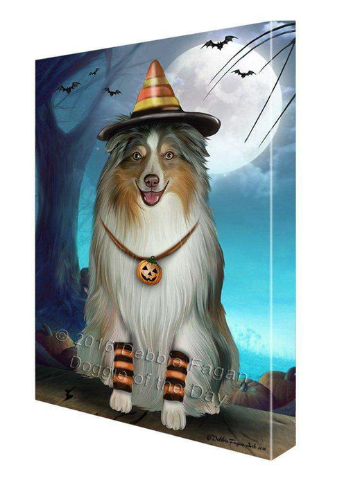 Happy Halloween Trick or Treat Australian Shepherd Dog Candy Corn Canvas Wall Art