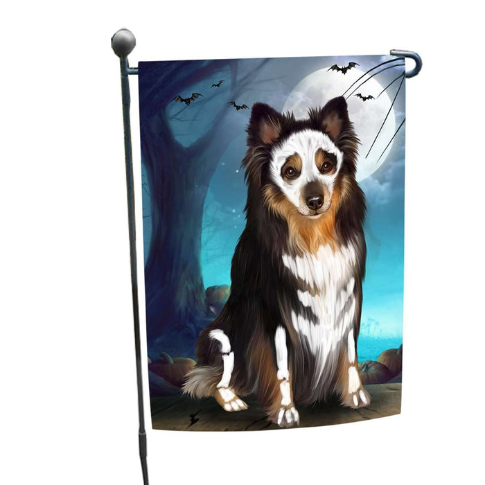 Happy Halloween Trick or Treat Australian Shepherd Dog Skeleton Garden Flag