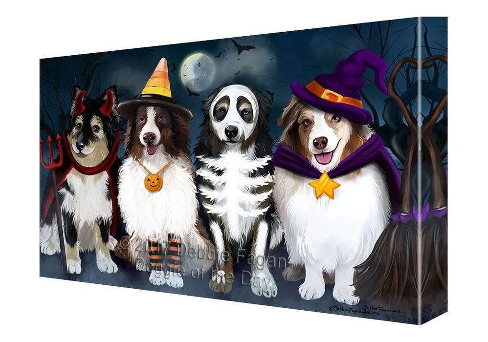 Happy Halloween Trick or Treat Australian Shepherds Dog in Costumes Canvas Wall Art