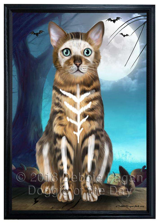 Happy Halloween Trick or Treat Bengal Cat Framed Canvas Print Wall Art FCVS160642