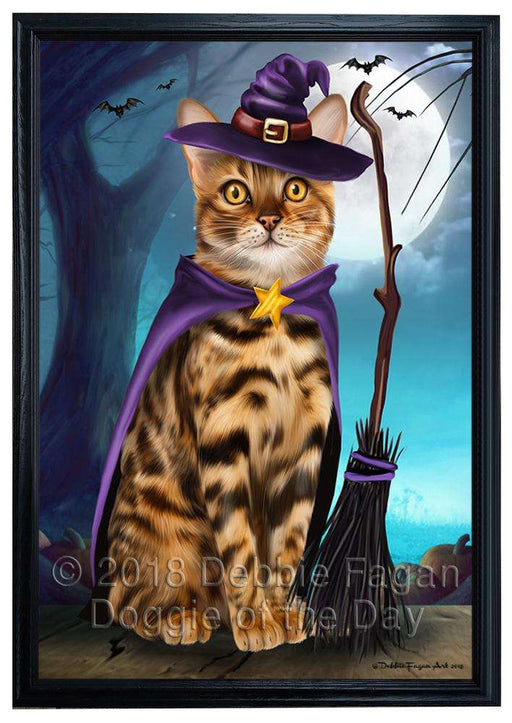 Happy Halloween Trick or Treat Bengal Cat Framed Canvas Print Wall Art FCVS160659