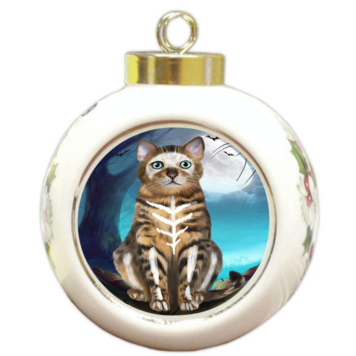 Happy Halloween Trick or Treat Bengal Cat Round Ball Christmas Ornament RBPOR54626