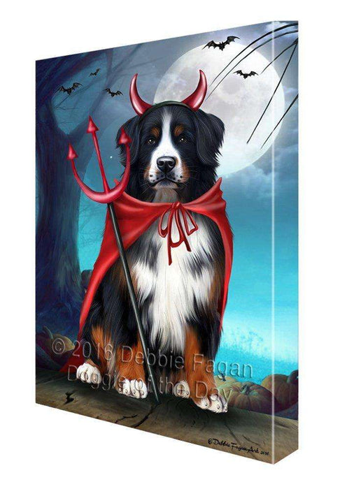 Happy Halloween Trick or Treat Bernese Mountain Dog Devil Canvas Wall Art