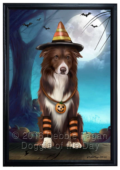 Happy Halloween Trick or Treat Border Collie Dog Candy Corn Framed Canvas Print Wall Art