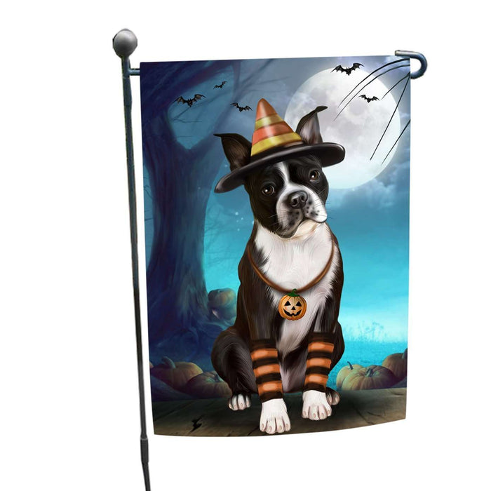 Happy Halloween Trick or Treat Boston Terrier Dog Candy Corn Garden Flag