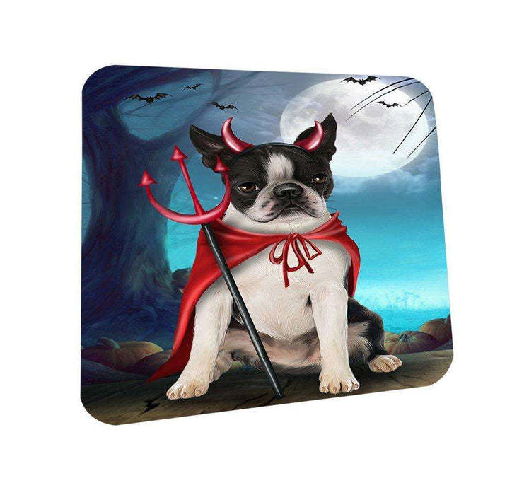 Happy Halloween Trick or Treat Boston Terrier Dog Devil Coasters Set of 4