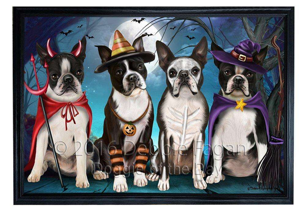 Happy Halloween Trick or Treat Boston Terrier Dog Framed Canvas Print Wall Art