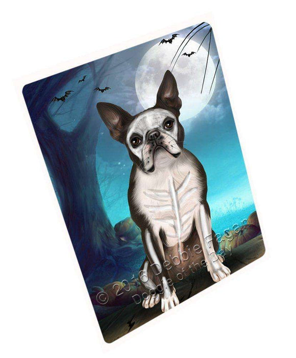Happy Halloween Trick or Treat Boston Terrier Dog Skeleton Large Refrigerator / Dishwasher Magnet