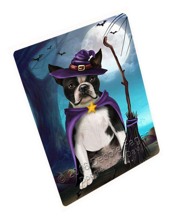 Happy Halloween Trick or Treat Boston Terrier Dog Witch Art Portrait Print Woven Throw Sherpa Plush Fleece Blanket