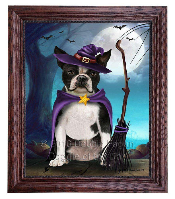 Happy Halloween Trick or Treat Boston Terrier Dog Witch Framed Canvas Print Wall Art