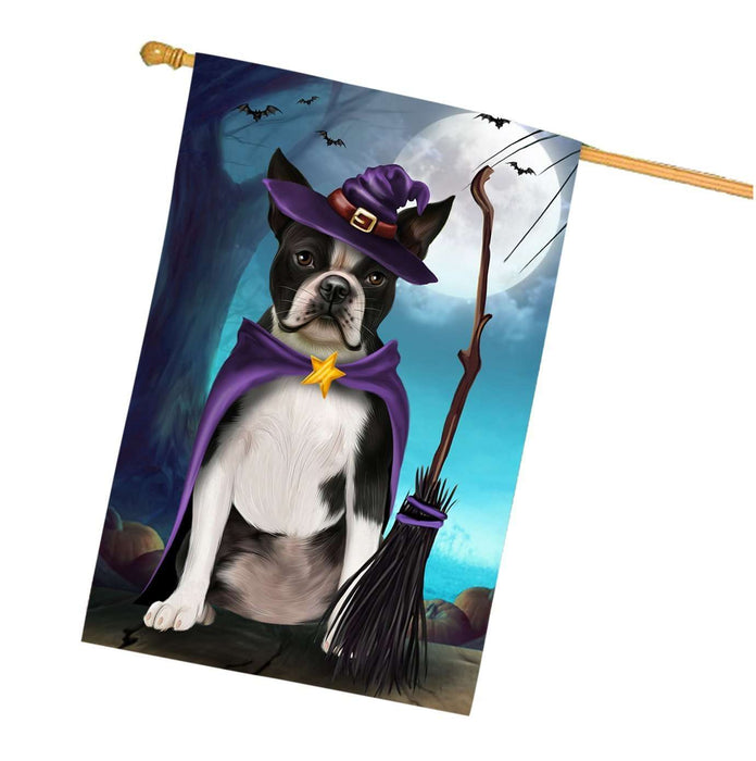 Happy Halloween Trick or Treat Boston Terrier Dog Witch House Flag