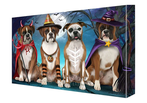 Happy Halloween Trick or Treat Boxer Dog Canvas Wall Art