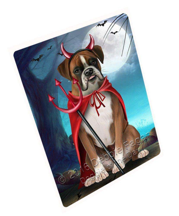 Happy Halloween Trick or Treat Boxer Dog Devil Art Portrait Print Woven Throw Sherpa Plush Fleece Blanket