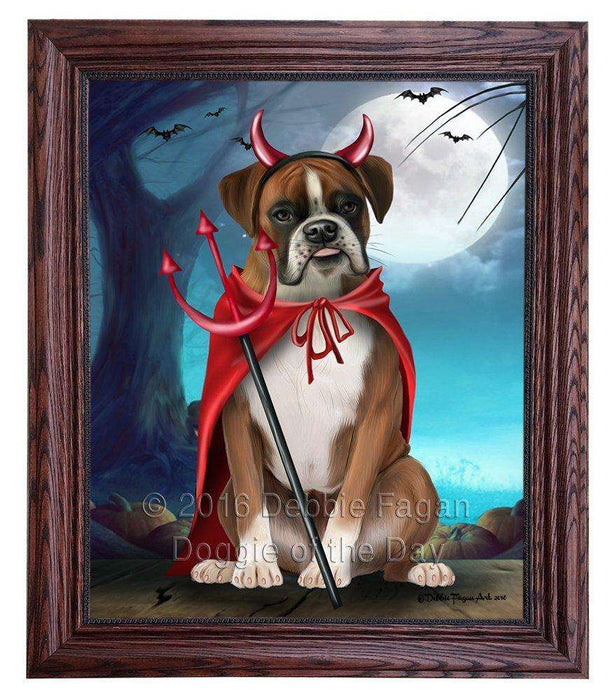 Happy Halloween Trick or Treat Boxer Dog Devil Framed Canvas Print Wall Art