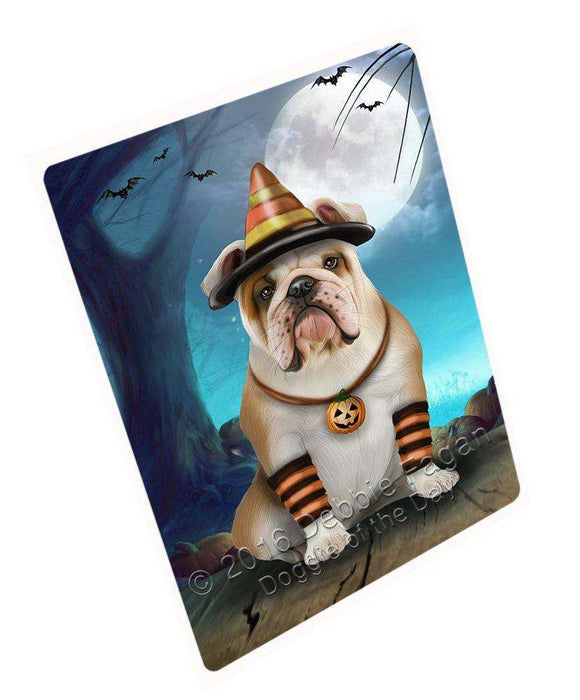 Happy Halloween Trick or Treat Bulldog Dog Candy Corn Art Portrait Print Woven Throw Sherpa Plush Fleece Blanket