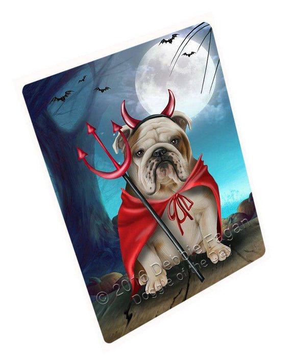 Happy Halloween Trick or Treat Bulldog Dog Devil Large Refrigerator / Dishwasher Magnet