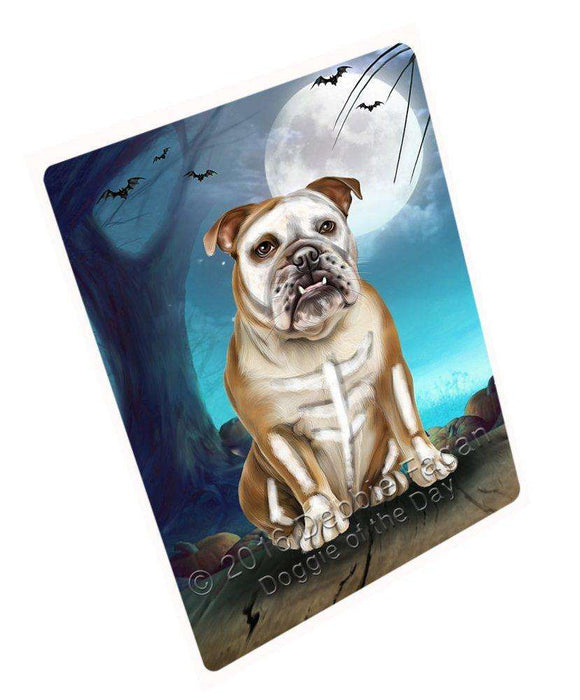 Happy Halloween Trick or Treat Bulldog Dog Skeleton Art Portrait Print Woven Throw Sherpa Plush Fleece Blanket