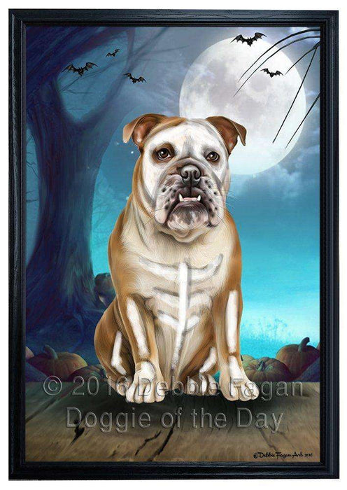 Happy Halloween Trick or Treat Bulldog Dog Skeleton Framed Canvas Print Wall Art