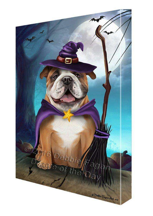 Happy Halloween Trick or Treat Bulldog Dog Witch Canvas Wall Art