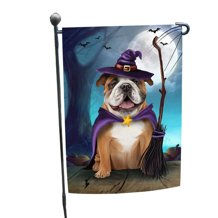 Happy Halloween Trick or Treat Bulldog Dog Witch Garden Flag