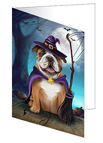 Happy Halloween Trick or Treat Bulldog Dog Witch Note Card