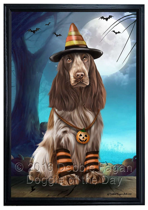 Happy Halloween Trick or Treat Cocker Spaniel Dog Candy Corn Framed Canvas Print Wall Art