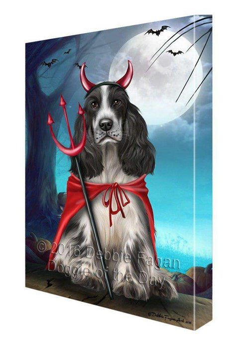Happy Halloween Trick or Treat Cocker Spaniel Dog Devil Canvas Wall Art