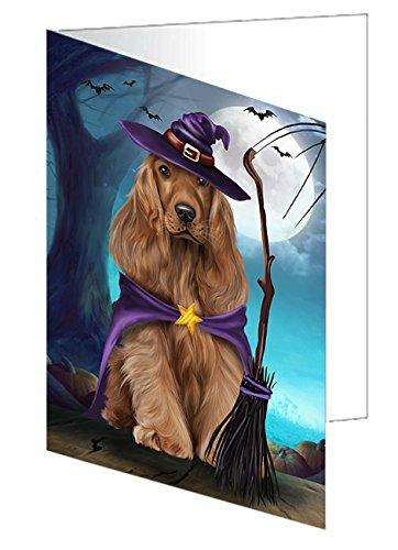 Happy Halloween Trick or Treat Cocker Spaniel Dog Witch Greeting Card