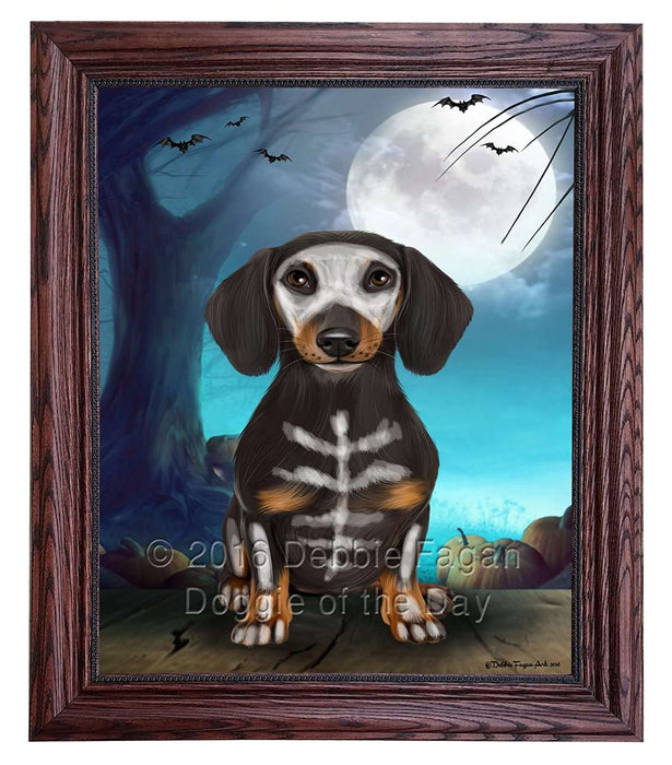 Happy Halloween Trick or Treat Dachshund Dog Skeleton Framed Canvas Print Wall Art