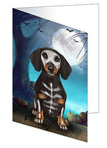 Happy Halloween Trick or Treat Dachshund Dog Skeleton Greeting Card D204