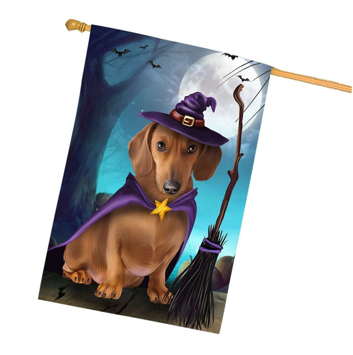Happy Halloween Trick or Treat Dachshund Dog Witch House Flag