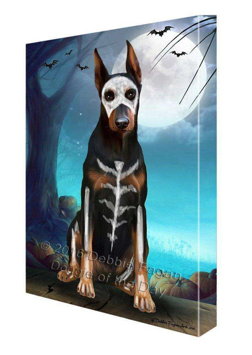 Happy Halloween Trick or Treat Doberman Dog Skeleton Canvas Wall Art