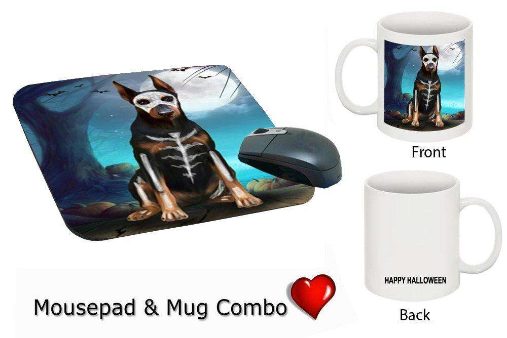 Happy Halloween Trick or Treat Doberman Dog Skeleton Mug & Mousepad Combo Gift Set