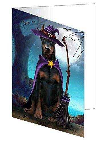 Happy Halloween Trick or Treat Doberman Dog Witch Greeting Card