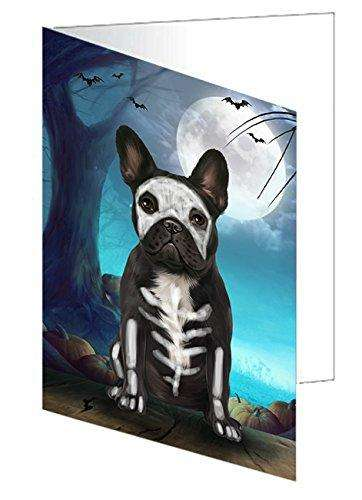 Happy Halloween Trick or Treat French Bulldog Skeleton Greeting Card D209
