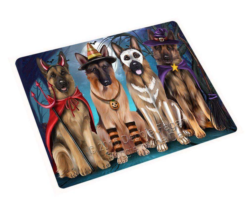 Happy Halloween Trick or Treat German Shepherd Dog Art Portrait Print Woven Throw Sherpa Plush Fleece Blanket