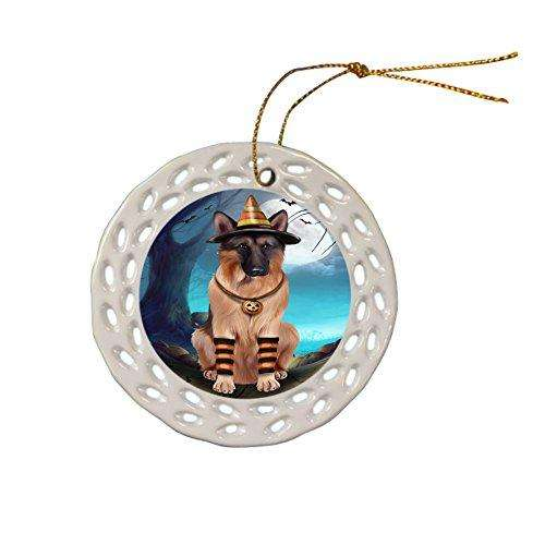 Happy Halloween Trick or Treat German Shepherd Dog Candy Corn Ceramic Doily Ornament