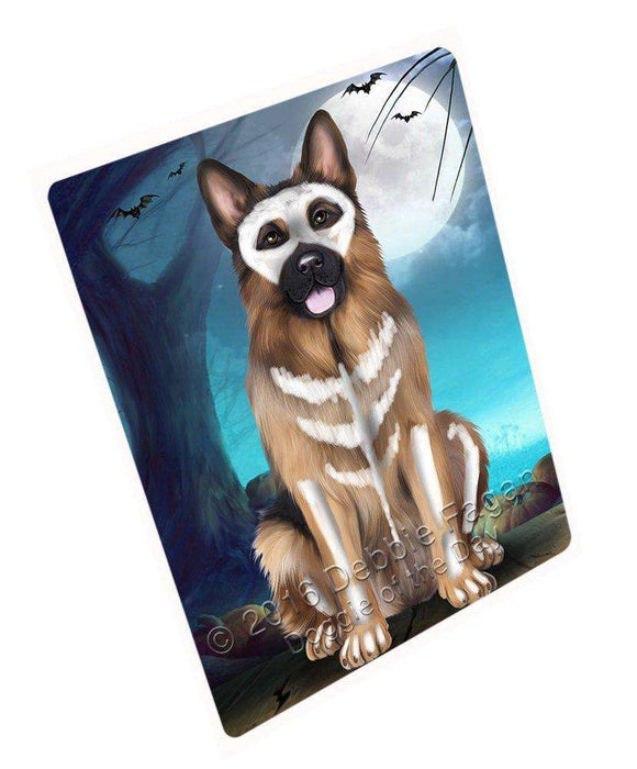 Happy Halloween Trick or Treat German Shepherd Dog Skeleton Art Portrait Print Woven Throw Sherpa Plush Fleece Blanket