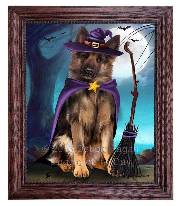 Happy Halloween Trick or Treat German Shepherd Dog Witch Framed Canvas Print Wall Art