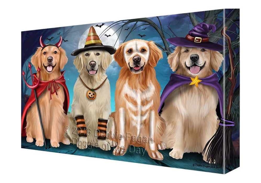 Happy Halloween Trick or Treat Golden Retriever Dog Canvas Wall Art