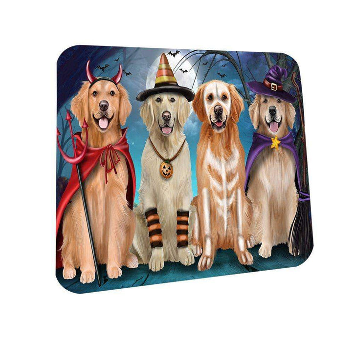 Happy Halloween Trick or Treat Golden Retriever Dog Coasters Set of 4