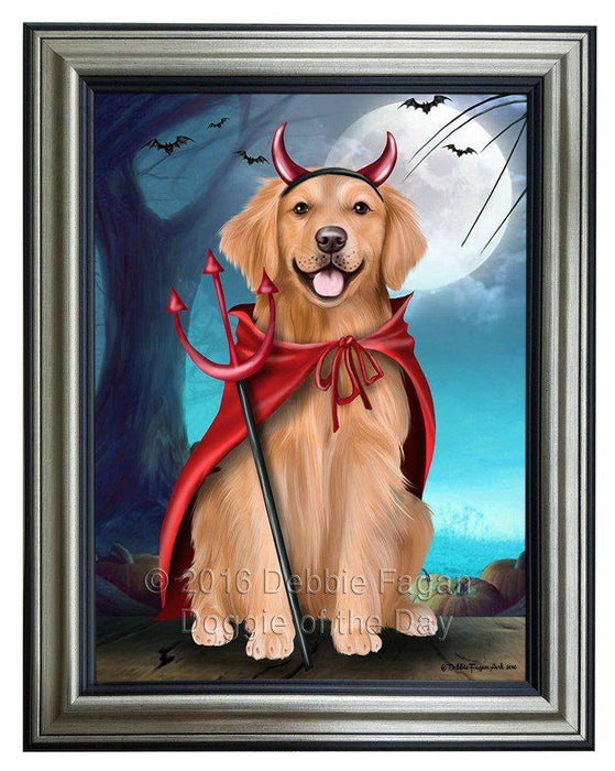 Happy Halloween Trick or Treat Golden Retriever Dog Devil Framed Canvas Print Wall Art